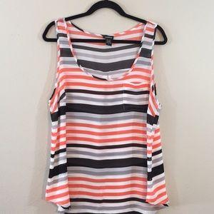 Torrid Women Stripes Sheer Tank Top - Size 1